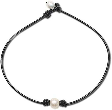 Girls Leather Ivory Pearl Necklace Women 1 Pearl Dainty Simple one Single Black String Cord product image