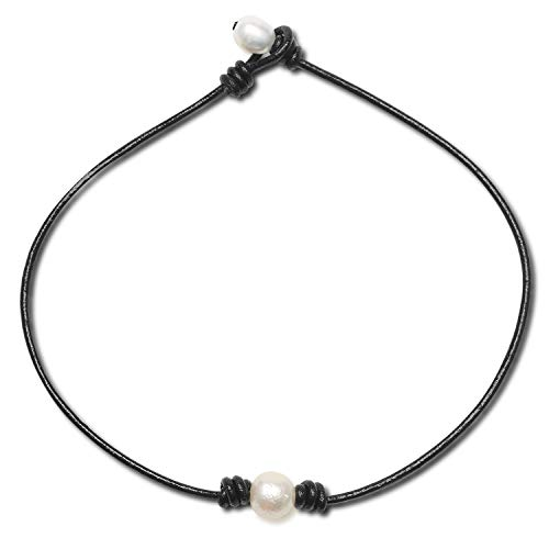 Girls Leather Ivory Pearl Necklace- Women 1 Pearl Dainty Simple one Single Black String Cord Large Baroque White Pearl Necklace Choker on Leather Cord with Pearl Choker for Kids 15 Inch