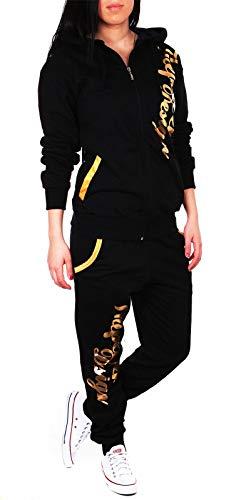 Violento Damen Jogginganzug Jogging Hose Jacke Sportanzug Sporthose Fitness Hoodie Hose schwarz/Gold L [41-42]
