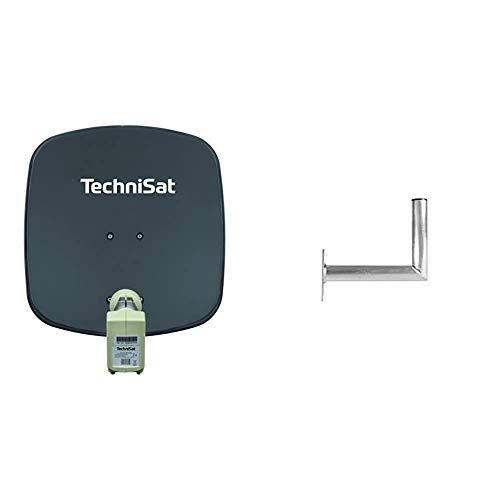 TechniSat DIGIDISH 45 – Satelliten-Schüssel für 2 Teilnehmer (45 cm kleine Sat Anlage) grau & TECHNIPLUS 35 Alu-Wandhalter mit 35 cm Wandabstand (Halter für Sat Antennen, Wandbefestigung)
