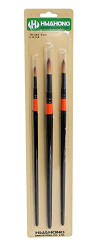 Hwahong Artists Round Paint Brushes Set Watercolor Acrylic Brush (3 Counts)