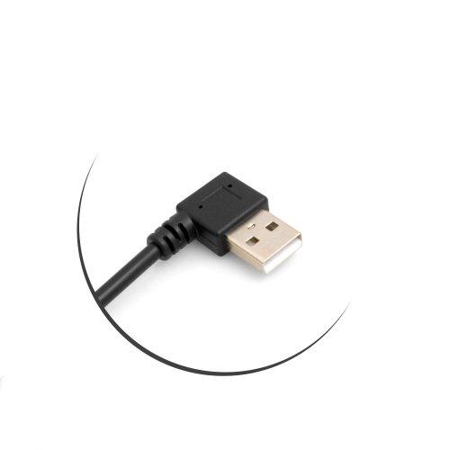 System-S Mini USB 90° Kabel Links gewinkelt Winkelstecker auf USB Typ A (Male) 90° Links gewinkelt Kabel Datenkabel Ladekabel 26 cm