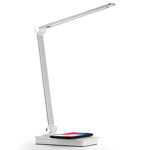 Smotly Led-tafellamp, dimbare bureaulamp met USB-oplaadpoort, touch-bediening, draadloos opladen met mobiele telefoon, kleurrijke led-tafellamp