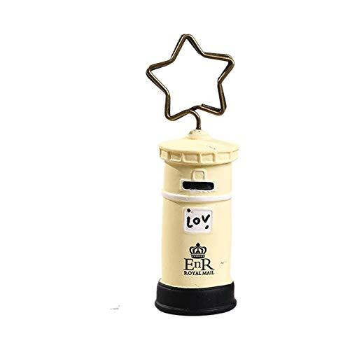 CAOLATOR 5 Stück Vintage Briefkasten Cremeweiß Memo Clip Halter Ständer Foto Clip Halter büroklammern Halter für Hochzeits Geburtstags Party Dekor/Büro Klipp Gebrauch