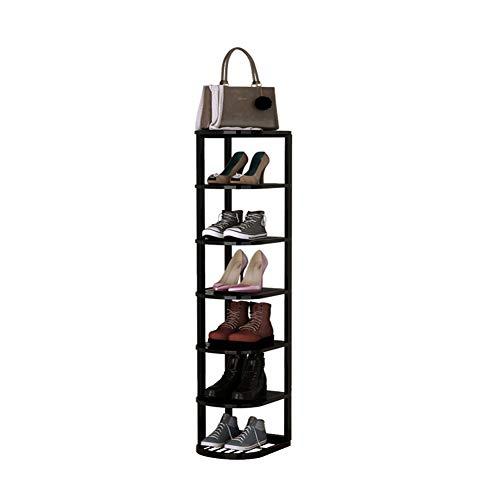 Zapatero de 7 capas, caja de almacenamiento de zapatos de metal, ahorro de espacio de múltiples capas, estante de almacenamiento multifunción blanco, negro/Black