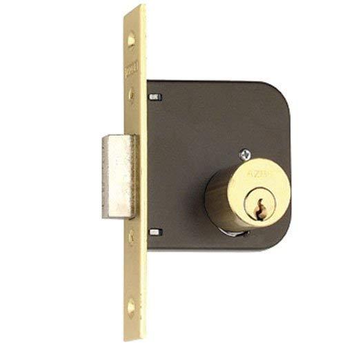 1 und. Cerradura de Embutir en Puerta Madera Estándar, Caja Cerrada, Doble Cilindro de 28mm, Acabado Latonado, Solo Palanca, Modelo 51 de AZBE. Medida Y35 - X60, Utilizada por su Calidad y Seg