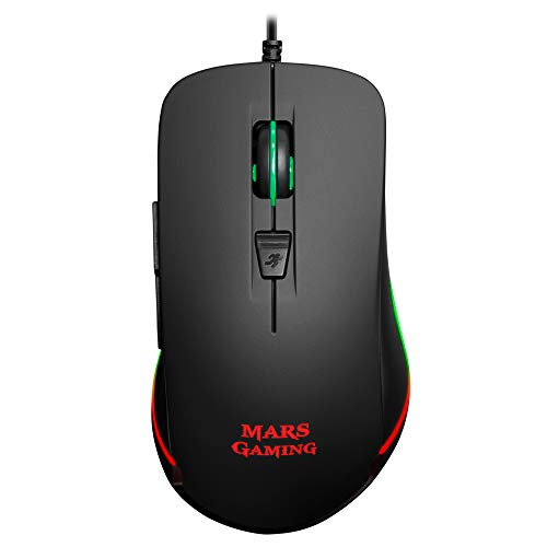 MARSGAMING Mars Gaming MM118, Mouse Gaming 9800DPI, LED RGB, 6 Pulsanti Meccanici, Nero