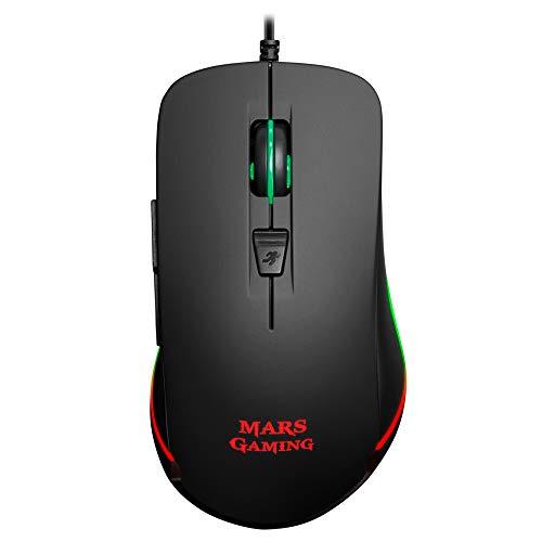 Mars Gaming MM118, Ratón Gaming 9800DPI, iluminación LED RGB, 6 Botones, Negro