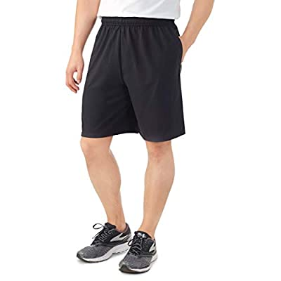 Fruit of the Loom Men's Cotton Blend Micro-Mesh Knit Athletic Shorts with Pockets Gym Shorts for Men Black