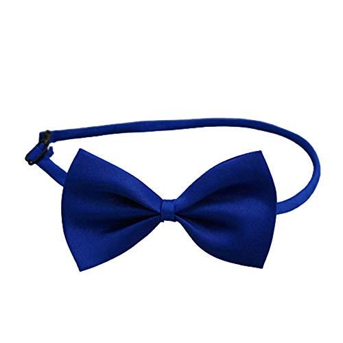 SpirWoRchlan Corbatas de lazo para mascotas, ajustable, suave, bonito, decorativo, color sólido, para perro, gato, pajarita, aseo de cachorro, para fiestas de Navidad, collar de cinta de colores azul