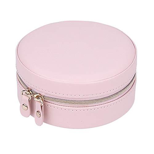 Organizador de maquillaje de piel sintética para joyas, organizador portátil, redondo, caja de regalo con cremallera, estuche de almacenamiento para pendientes, color rosa, tamaño: 11 cm x 5,2 cm