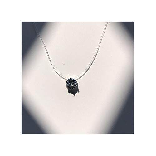ZYQXB Square Pearl Crystal Zircon Transparent Fish Line Necklace (Metal Color : 2 6Claw 6mm)