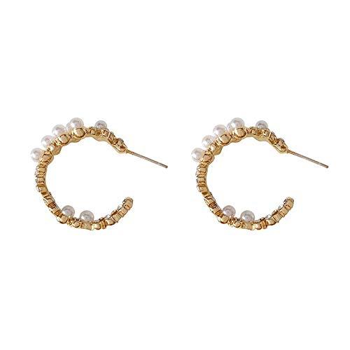 Xi-Link S925 Silver Silver Aguja De Alta Gama Retro C-Pearl Ore Free Anillos Temperamento Pendientes Simple (Color : Ear Studs)