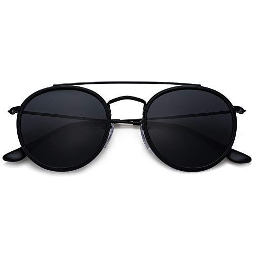 Double Bridge - Gafas de sol polarizadas pequeñas y redondas para mujeres y hombres, marco de metal ligero 100% protección UV Retro Shades
