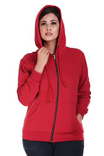 MUKHAKSH (Pack of 1 Girls Winter Woolen Warm Fleece Red Zipper Hoodies Jacket (17-18 Years)