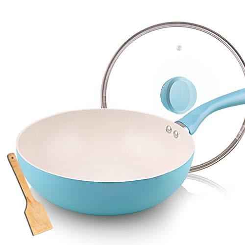 SJY keramische wok non-stick wok huishoudelijke pan, inductie fornuis gasfornuis voor het koken, met deksel minder rook, antiaanbaklaag (met houten schop)