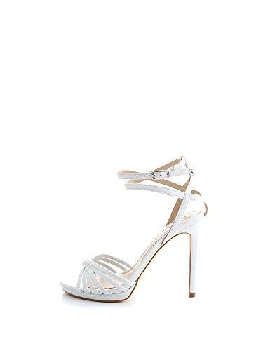 Guess Tonya (Sandal)/Leather, Scarpe con Cinturino alla Caviglia Donna, Bianco, 40 EU