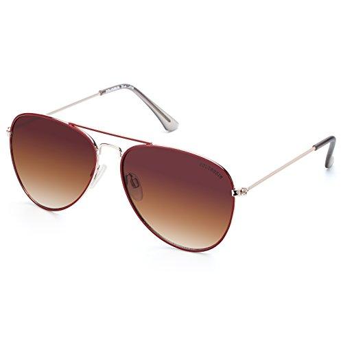 Linno Classic Aviator Sunglasses Metal Frame Mirror Lens Sunglasses 100% UV Protection (Gradient Brown)