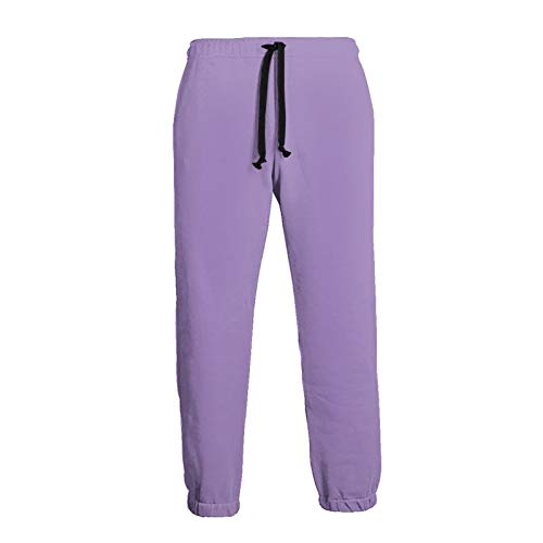 Men's Lavender Purple Solid Color Athletic Sweatpants, Casual Sport Pants with Drawstring and Pockets, S-3xl