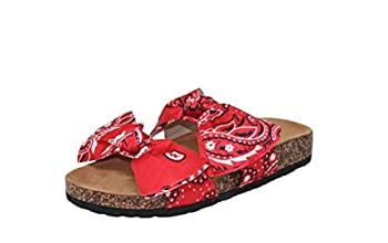 Women Fashion Slide Sandals Soft Cork Footbed Slip On Bow Slides  Red Bandana numeric_10
