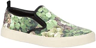 Gucci Bloom Flower Print Supreme GG Green Canvas Slip Sneakers 407362 8961