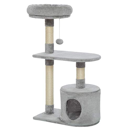 Meerveil Cat Tree Large Palace Cat Climbing Frame Scratching Board, 6 Levels with Slide, Cradle, Swing, Large Kennels 2 Gazebo for Cat, Height 210 cm (Little Light Grey)