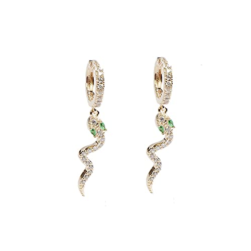 Hedoné - Pendientes de aro ovalados para mujer con colgante recubiertos de circonita cúbica. Serpiente Oro