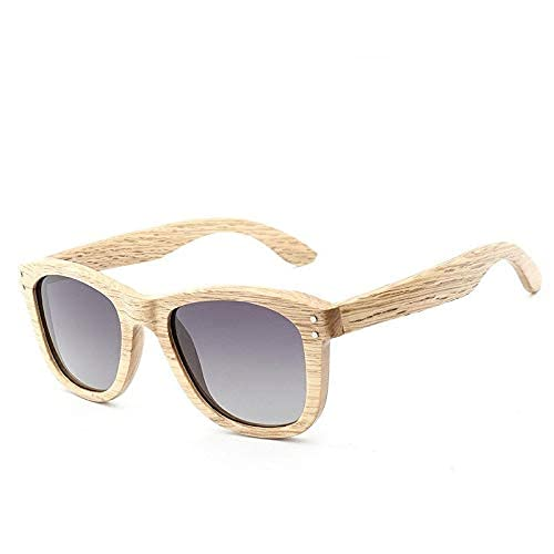 LAMZH Gafas de Sol polarizadas de Madera de Gafas de Sol Classic Remache Bambú de Moda Gafas de Sol Accesorios (Color : G)