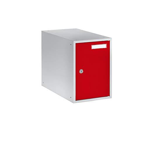 QUIPO Casier verrouillable - h x l x p 350 x 250 x 450 mm - corps gris clair - portes rouge feu - vestiaire petit modèle - casier consigne - caisson métallique effets personnels