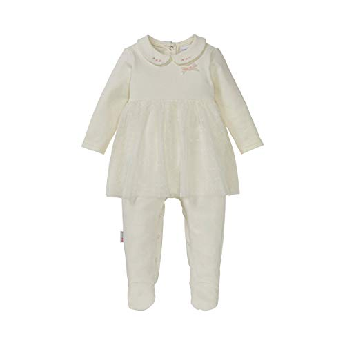 Bornino Strampler-Kleid - Festliche Mode für Babys & Kleinkinder - Baby-Overall mit besticktem Bubikragen, Zierschleife aus Samt & Tüllrock - weiß
