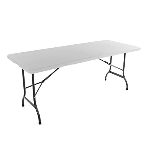 SONLEX Partytisch Klapptisch 183 x 76 x 74 cm weiß Catering Gartentisch klappbar Bierzelttisch 18,5 kg Tragegriff für 8 Personen