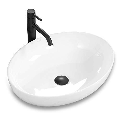 VBChome Waschbecken Keramik 51 x 39 Design Oval Waschtisch Handwaschbecken Aufsatz-Waschschale FÜR BADEZIMMER GÄSTE WC Carola