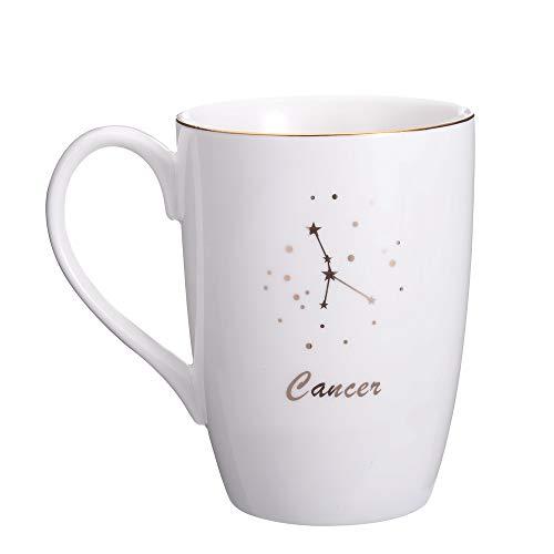 Danxia - Taza de café (cerámica, chapado en oro, porcelana), color blanco, cerámica, Cancer 14 OZ