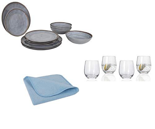 Moritz Juego de vajilla de melamina para camping para 4 personas, diseño Halograu + 4 vasos de agua Tiamo + 1 paño de microfibra azul vajilla de camping vajilla de mesa