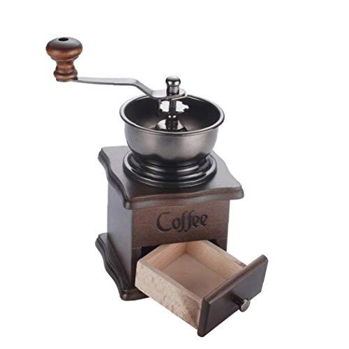 JRXyDfxn Manuelle Kaffeemühle Hand Kaffeemühle Holzsockel mit Schublade Kaffeebohne Mühle Vintage antike Art-Handkurbel