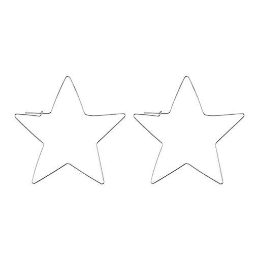 Guiping Pendientes colgantes Moda personalidad orejas, estrellas de metal y luna geométricas para mujer, pendientes colgantes pendientes pendientes (Metal Color: EC040)