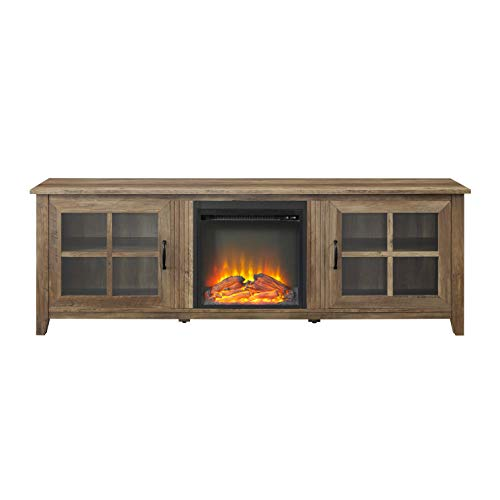 """Walker Edison Furniture Company Modern Farmhouse Wood Fireplace Universal Stand with Cabinet Doors for TV's up to 80"""" Flat Screen Living Room Storage Entertainment Center, 70 Inch, Reclaimed Barnwood"""