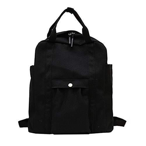 Wivarra L?Ssiger Rucksack für Herren und Damen Schultasche mit Gro?Er Kapazit?T Reise-Schultasche Einfarbiger Rucksack Schwarz