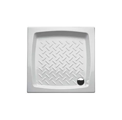 Piatto doccia 80x80 quadrato in ceramica bianca smaltata, disegno antiscivolo