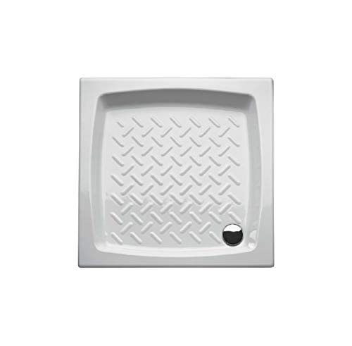 Piatto doccia 90x90 quadrato in ceramica bianca smaltata, disegno antiscivolo