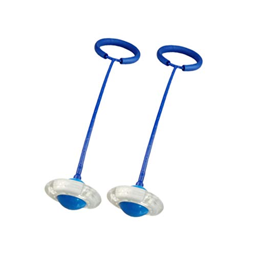 BESPORTBLE 2 Stücke Leuchtende Bälle mit Seil Blinkende LED Boomerang Ball Handgelenk Band Springball mit Band Kinder Springring Sport Fitness Spiel Kindergeburtstag Mitgebsel (Blau)