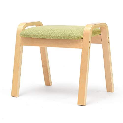 PLL kruk home kruk Change schoenenbank Creative Living Room eenvoudige kruk sofa kruk massief hout vierkante kruk kleine bank groen kussen