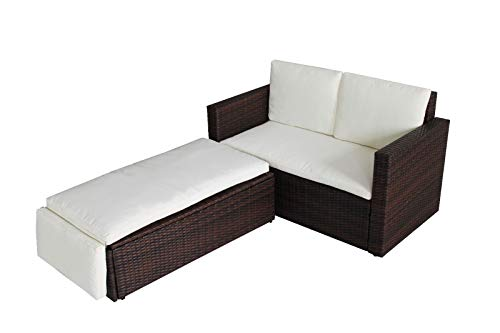 EVRE Outdoor Rattan Garden Love Bed Furniture Set Patio Conservatory (Brown)