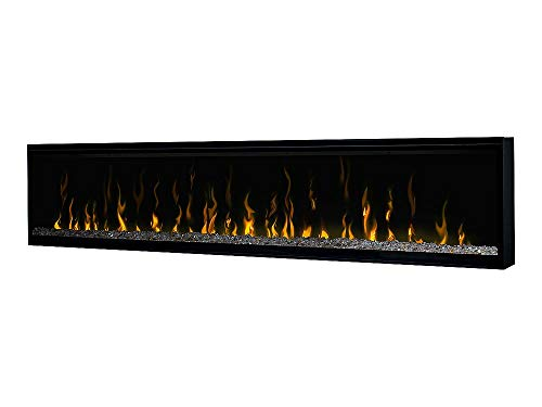 Dimplex Excite Linear Electric Fireplace Insert with Ceramic Heater, Glass Crystal Embers, Multi-Colored Flame Effect and Remote Control, 74in