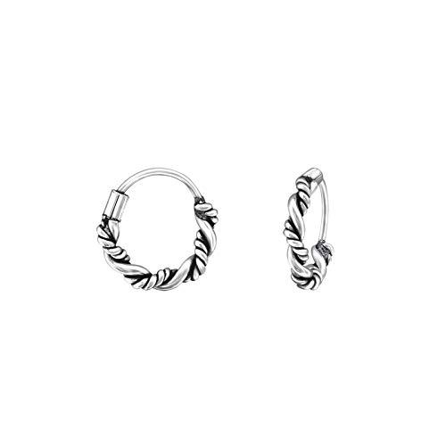 Bungsa© Unisex Creolen im Bali Design aus .925 Sterling Silber