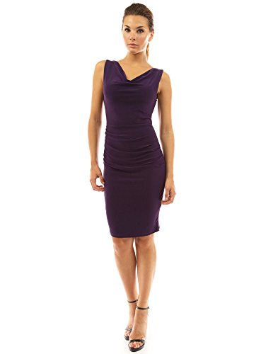 PattyBoutik Women Cowl Neck Sleeveless Ruched Dress (Dark Purple Medium)