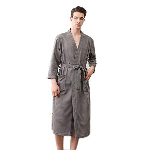 Zhenwo - Albornoz para hombre, algodón, Yukata, 2 bolsas, cinturones, suave, absorbente, cómodo hotel Badmantel con pijamas japoneses, gris, M