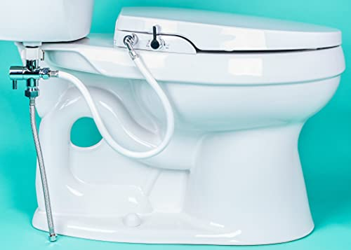 Product Image of the GenieBidet [ELONGATED] Seat-Self Cleaning Dual Nozzles. Rear & Feminine Cleaning - No wiring required. Simple 20-45 minute installation or less. Hybrid T with ON/OFF Included! [Travel Bidet Included]