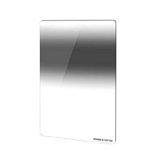 JONGSUN ND Filtro Cuadrado 100x150mm Inverso Densidad Neutra RGND8 (0.9) 3-Stops,Reverse Graduated Gray Square Neutral Density Filter, Nano Recubrimiento Multicapa 18 capas, Optical Glass Schott B270