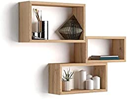 Mobili Fiver, Lot de 3 Cubes muraux rectangulaires, Giuditta, Bois Rustique, Mélaminé, Made in Italy